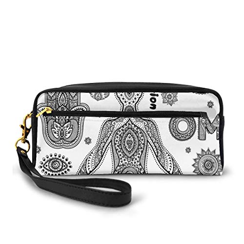 Pencil Case Pen Bag Pouch Stationary,Ornamental Symbols Ethnic Paisley Motifs Asia Hamsa Hand Harmony Aura,Small Makeup Bag Coin Purse