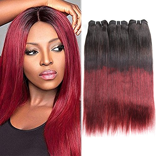 Huarisi Brazilian Virgin Hair Straight Extensions Ombre Burgundy Human Hair Short Weaves 3 Bundles Natural Black to Wine Red Color 10 12 14 Inches 100g/piece for Full Head