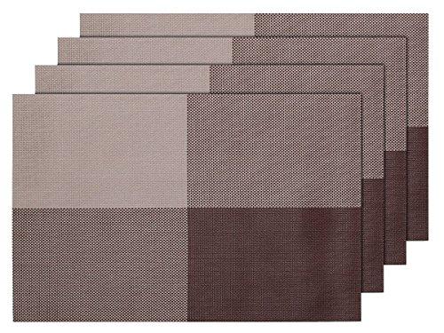 Lot de 4 Sets de table tressé beige marron (TS-52)