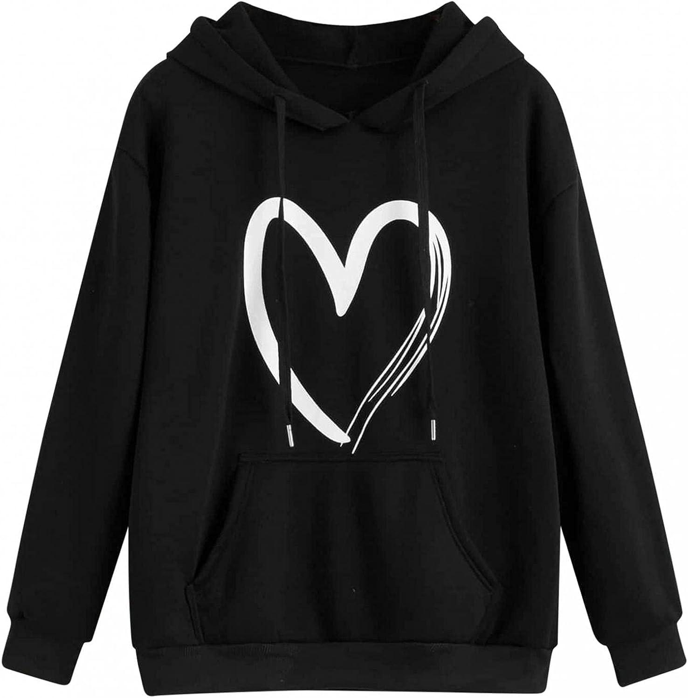 Aniwood Sweatshirts for Women, Womens Long Sleeve Love Graphic Hooded Sweatshirts Teen Girls Casual Loose Tops Shirts