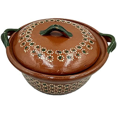Cazuela Olla De Barro Tradicional Con Tapa Artesanal Ideal para Frijoles y Guisos Tipicos Cap (2 KG)