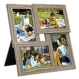 """SONGMICS Collage di Cornici per 4 Foto, per 10 x 15 cm (4"""" x 6""""), Galleria per Esposizione Foto a Parete, Pannello di Vetro, Display per Galleria Fotografica a Parete, Naturale RPF25NL"""