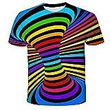 Qier Camisetas Hombre Camiseta Holgada Informal De Manga Corta con Gráfico 3D, Arcoíris Giratorio, Azul, XS