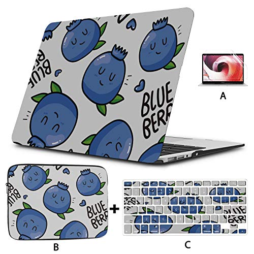 Laptop Case MacBook Pro Delicious Blueberry Fruit Mac Air Cover Hard Shell Mac Air 11'/13' Pro 13'/15'/16' with Notebook Sleeve Bag for MacBook 2008-2020 Version