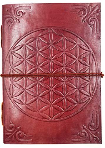 Kooly Zen Notizblock, Tagebuch, Buch, echtes Leder, Vintage, Blume des Lebens, 13 cm x 17 cm, Premiumpapier