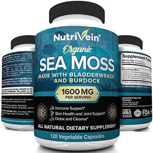 Nutrivein Organic Sea Moss 1600mg Plus Bladderwrack Burdock 120 Capsules Prebiotic Super Food product image