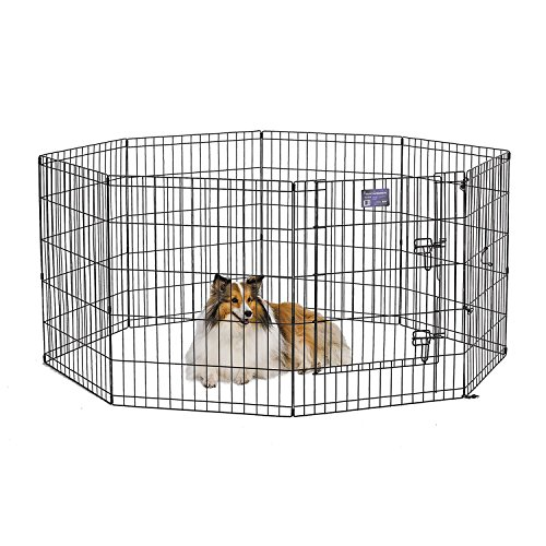 MidWest 552-30DR Foldable Metal Exercise Pen / Pet Playpen. Black w/ door, 24 W x 30 H Inch