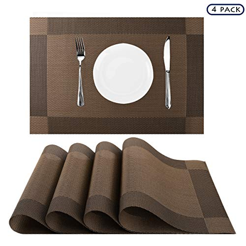 Nuovoware Placemats, [4 PACK] 30 x 45 cm Premium Exquisite Crossweave Stain Resistant Heat-resistant Non-slip Textilene Woven Plaid Kitchen Table Dining Mat Pads Place Mats, Brown, Pattern C