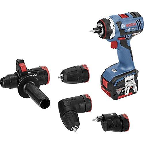 Bosch Professional 14,4V Akkuschrauber GSR 14,4 V-EC FC2 2x 4,0 Ah Akku Ladegerät Bohrfutter- Winkel- Exzenter- SDS-plus-Bohrhammeraufsatz L-BOXX (18 Volt Max. Drehmoment: 46 Nm)
