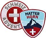 2er-Set Abzeichen gestickt / Schweiz, Matterhorn Abenteuer / Suisse Switzerland / schweizer Berge Wandern Alpen / Flagge Wappen Kreuz Zermatt / Aufnäher Aufbügler Sticker Patch Reiseführer Buch Karte
