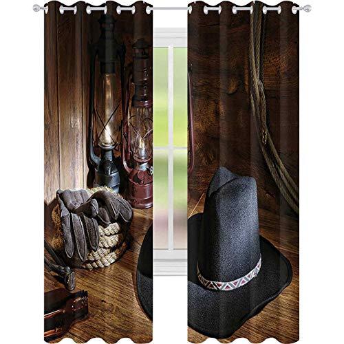 Cortinas opacas para dormitorio, American Rodeo Equipment con sombrero de fieltro vaquero, linternas de 52 x 108, cortina opaca para sala de estar, negro y marrón