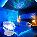 AZIMOM Remote Control Ocean Wave Projector 12 Led Night Light 7 Colors Undersea Wave Ceiling Projector Lamp Timing Built-in Mini Music Player for Kids Bedroom Living Room Decoration