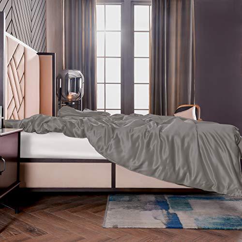 THXSILK Seide Bettbezug, Seide Tröster Cover, 100% 19 Momme Bestnote Maulbeerseide Bettwäsche (135x200cm, Holzkohle)