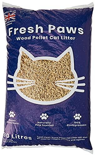 Fresh Paws - Lettiera per gatti con pellet di legno di alta qualità, 30 l