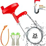 Plumbing Snake Drain Auger, 25 Ft Flexible Sink Snake, Pipe Snake, Drain Clog Remover for Bathroom Kitchen Sink, Shower Drain, Sewer Tool, Comes with Gloves and 1 Pack Plastic Hair Snake …