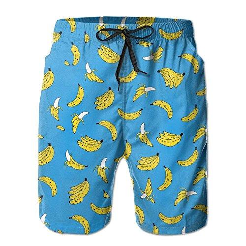 GOSMAO Swim Trunks Cool Mens Sand Summer Surfer Water Dry Home Swimming Drawstring Yellow Bananas Board Shorts Pockets Jams