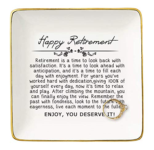 Happy Retirement Gifts for Women - Jewelry Holder Ring Dish Trinket...