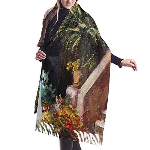 Schal mit Fransen Terrassenblumen und Gartenhaus Griechenland mit rustikalem Fensterölgemälde Warm Super Soft Kaschmir Feel Pashmina Schals und Wraps