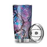 Cherry Tree Sky-Mirror Stainless Steel Travel Mug Tumbler Double-Wall Insulation Travel Cup For Home Office School Outdoor Works Halloween Christmas Gifts white 20oz