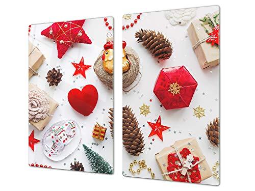 Protector de placas de cocina – Cubre encimeras de cristal – Tabla de cortar grande Tabla de amasar – UNA PIEZA (60 x 52 cm) o DOS PIEZAS (30 x 52 cm); D20 Serie de Navidad