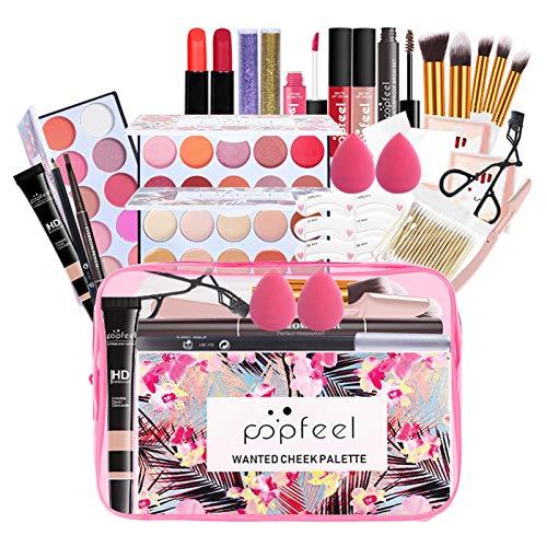 qingyin Kit De Maquillage Polyvalent - Kit De Maquillage Tout-en-Un Essential Starter Beauty Kit Cosmétique, 27pcs Cosmétique avec Sac De Rangement Cadeau De Maquillage De Voyage Portable