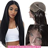 Parrucche Lunghe Capelli Veri Human Hair Wigs Parrucca Donna Lace Front Wig Nera Lunga Naturale 30cm 100% Remy Lisci Brasiliani 130% Density 130g