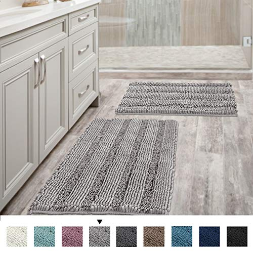 "Non Slip Thick Shaggy Chenille Bathroom Rugs Soft Bath Mats for Bathroom Extra Absorbent Floor Mats Bath Rugs Set for Kitchen/Living Room (Set of 2, 20"" x 32""/17"" x 24"", Dove)"