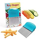 Wavy Chopper for Kids - Stainless Steel, Crinkle Cutter - Make Homemade French Fries, Waffle Fries, Fancy Vegetables - Potatoes, Cucumbers, Carrots! Beginner's First Chef Knife Cooking