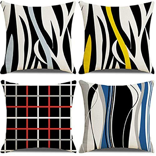 QXbecky Fundas de Cojines Funda de Almohada Cuadrada de Color Moderno círculo de rombo Abstracto geométrico 4 Piezas (sin núcleo) Funda de Almohada de Lino para decoración de sofá