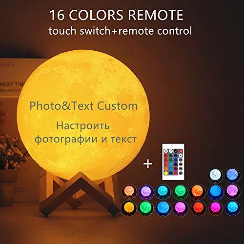lampara de luna personalizada 3d con tu Fotos y texto USB Recargable 16 colores Control remoto y táctil controlar Cumpleaños Regalo perfecto (Diámetro 20 cm)