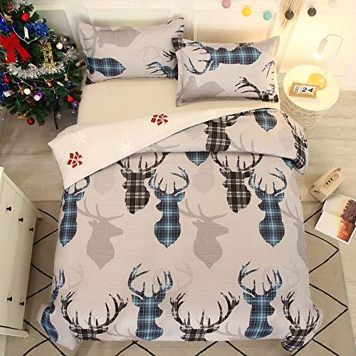timeriver US Ropa de cama navideña con diseño de alce y cuadros y rayas, suave y mullida, funda de edredón y funda de almohada para niños y niñas (220 × 240 cm)