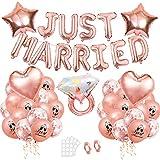 Just Married Hochzeit Deko, 41 Hochzeit Deko Set,Rosegold Just Married Girlande Banner,Just Married Luftballons,Hochzeitsdeko Roségold Ballon, für Heiratsantrag Standesamt Verlobung Hochzeitsgeschen