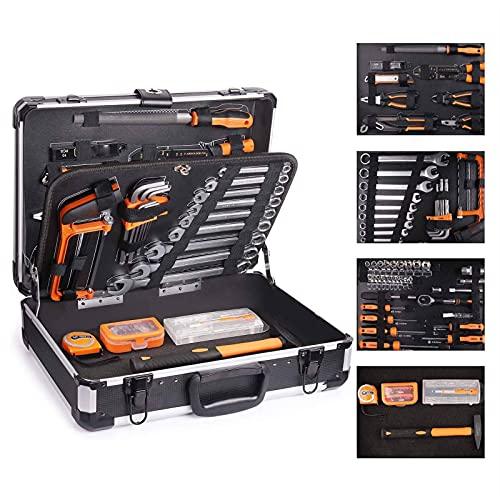 Caja de Herramientas de Aluminio 136Pcs, Maletín de Herramientas de Mano,Juego de Destornilladores de Precisión, Martillo, Alicates