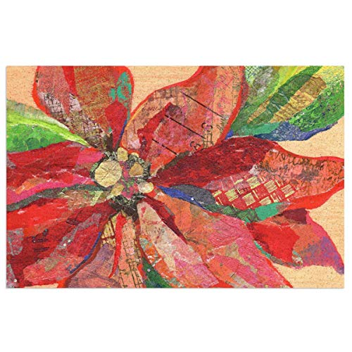 Tlsgcks Christmas Red Poinsettias Retro Cute Bling Prints PVC Doormat Rubber Backing Non Slip Decorative Entryway Rug Indoor Outdoor Garage Traffic Areas Shoe Rugs