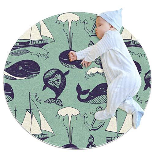 Indimization Barco de Vela de Ballenas Alfombra Redonda Alfombra Redonda decoración Arte Antideslizante niños Lavables a máquin Suave Sala Estar Dormitorio de Juegos para 80x80cm