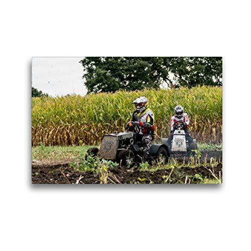 Premium Textil-Leinwand 45 x 30 cm Quer-Format Rasenmäherrennen | Wandbild, HD-Bild auf Keilrahmen, Fertigbild auf hochwertigem Vlies, Leinwanddruck von Sonja Teßen