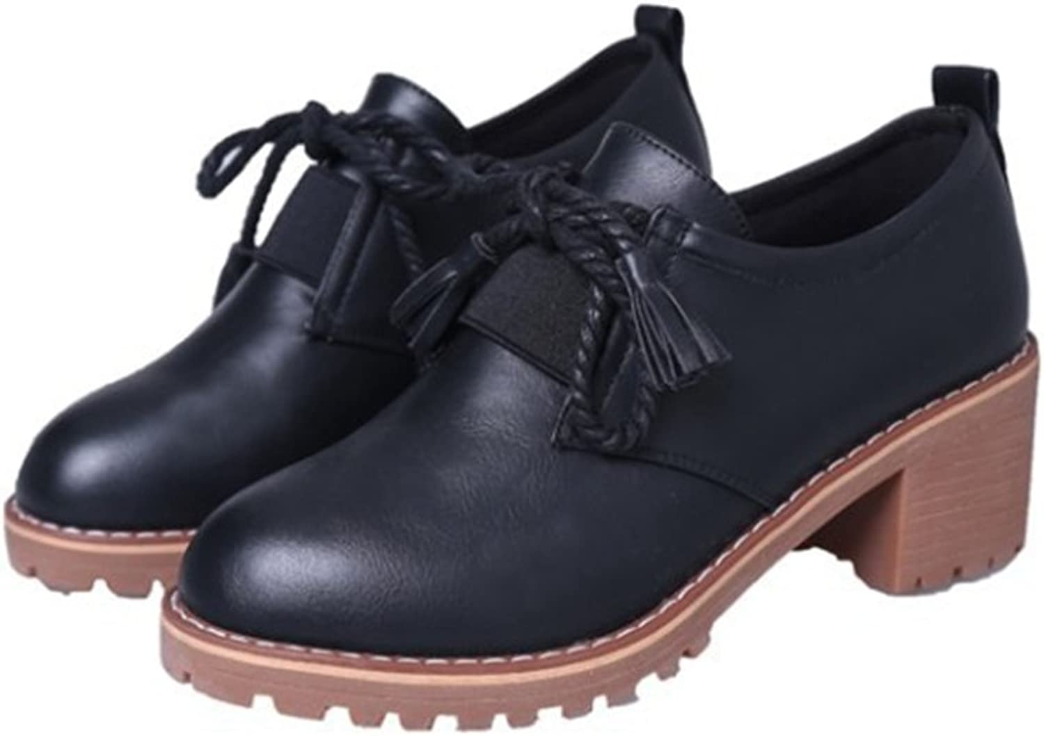 T-JULY Women's Classic Oxfords shoes - Waterproof Mid Heel Elastic Wingtip Brogue Tassel shoes