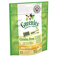 For man's best friend: Grain-free dental chews for petite dog breeds / Unique chewy texture that helps reduce plaque and tartar build up / Easily digestible treat for fresh breath and oral hygiene GREENIES Dental Treats are developed with veterinaria...