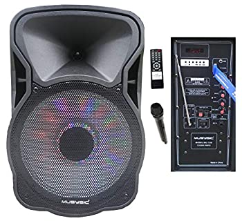"MUSYSIC 12"" Portable 1200W Speaker PA System Wireless Mic review"