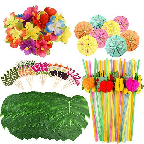 FEPITO 184 PCS tropische hawaiische Partydekorationen schließt tropische Palmblätter, Hibiscus-Blumen, Getränk-Regenschirm-Auswahl, bunte Frucht-Strohe und Kuchendeckel mit ein
