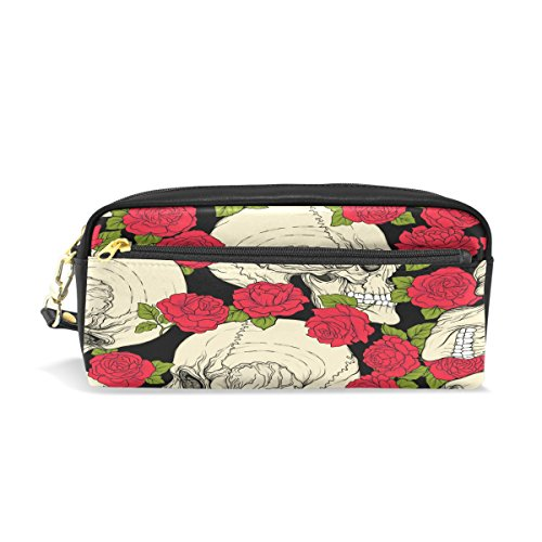 Trousse, tête de mort florale de Rose Imprimé Voyage Maquillage Pouch Grande capacité étanche Cuir 2 compartiments pour filles garçons femmes Hommes