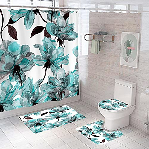 Badezimmer Teppich Duschvorhang vierteilige Weiße graublaue Blume Toilette Badewanne Anti-Rutsch Wasserdicht Polyester Duschvorhang Bodenmatte Set180 × 200 cm