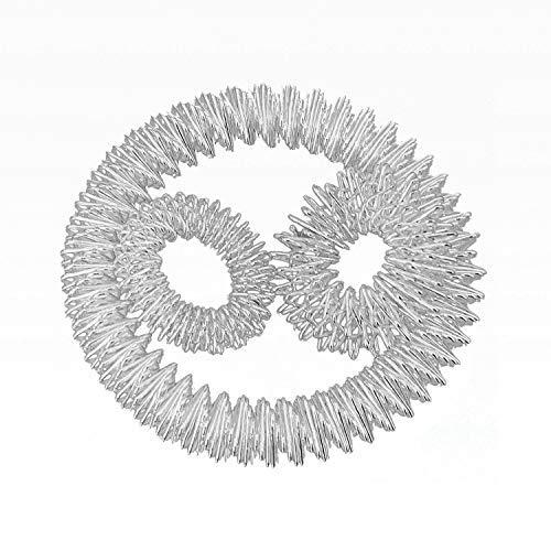 Power-Ring-Set - Armband (Silber) + Ring (Silber groß) + Ring (Silber klein) / Akupressurring / Massagering / Massagearmband / Armmassagering Silber