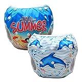 Luxja Riutilizzabile Pannolini da nuoto (Confezione da 2), Costume Pannolino Lavabili, Impermeabile Pannolino Piscina (0-3 anni), Delfino + Stella marina
