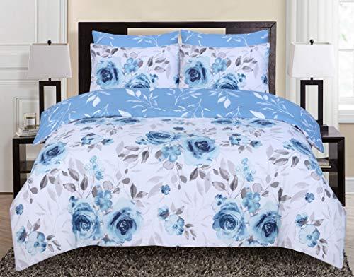 Divine Textiles 100% Pure Cotton Reversible Floral Printed Duvet Quilt Cover Set, Roses Blue - Double