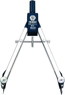 Compasso Técnico Balaustre Simples, Trident, 9020, Cromo Fosco, Traça Circunferências de Até 14 cm