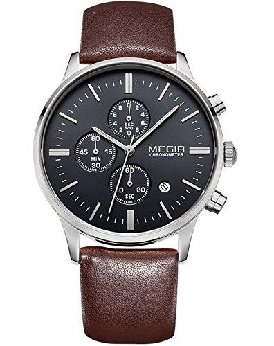 Megir Sportliche Herren Uhr, leuchtend, Kalender, Analoges Display, Quarz-Armbanduhr mit braunem Lederarmband