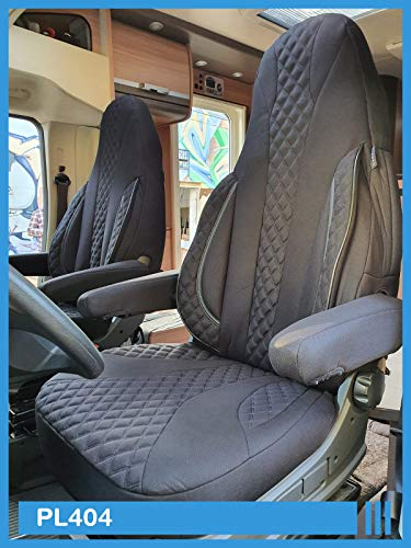 Maß Sitzbezüge Schonbezüge kompatibel mit FIAT Ducato Typ 250 Fahrer & Beifahrer ab 2006 - 2022 PL404