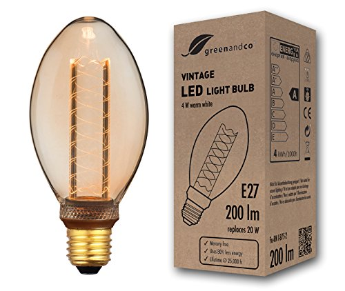 Bombilla LED greenandco® decorativa estilo vintage antiguo Edison E27 B75 4W 200lm 1800K (blanco extra cálido) 320° 230V vidrio, sin parpadeo, no regulable