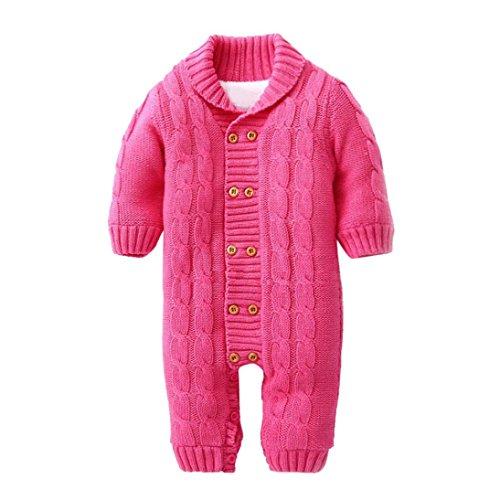 SUCES Neugeborenen Baby Button Strampler Revers Gestrickte Verdickt Pullover Jumpsuit Baby Winter Overall mit Kapuze Fleece Strampler Footed Spielanzug Mädchen Jungen Jumpsuit (12M, Hot Pink)